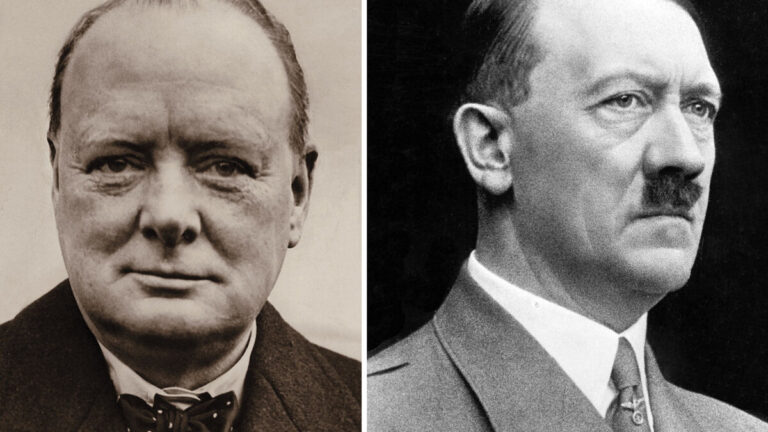 Два художника — А.Гитлер и У. Черчилль.